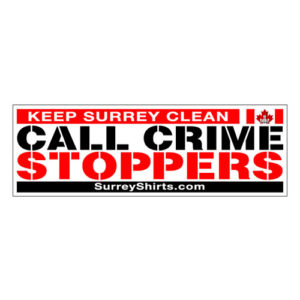 Keep Surrey Clean Call Crimestoppers Bumper Sticker